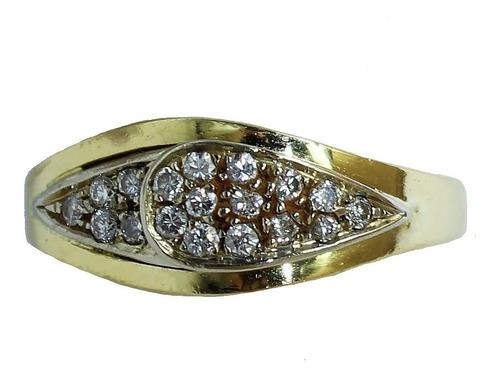 Anel De Ouro 18k 750 Diamantes 2875