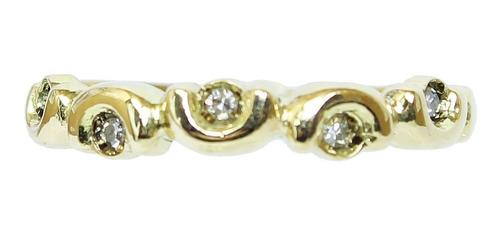 Anel De Ouro 18k 750 Diamantes 2890