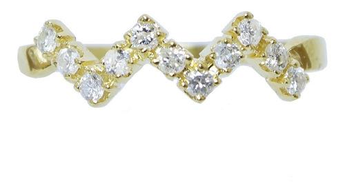 Anel De Ouro 18k 750 Diamantes 2915