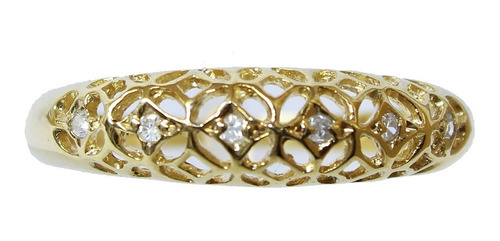 Anel De Ouro 18k 750 Diamantes 2935