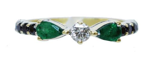 Anel De Ouro 18k 750 Diamantes Esmeraldas 2927