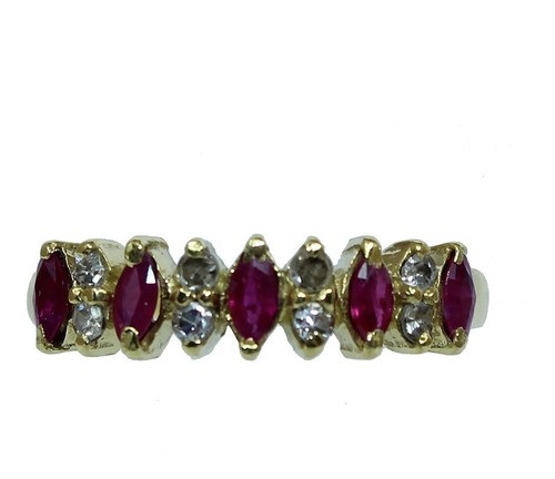 Anel De Ouro 18k 750 Rubis Diamantes 2790