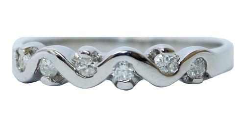 Anel De Ouro Branco 18k 750 Diamantes 2883