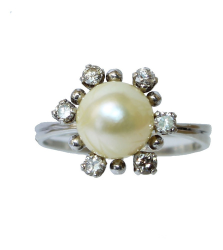 Anel De Ouro Branco 18k 750 Diamantes Pérola 2884