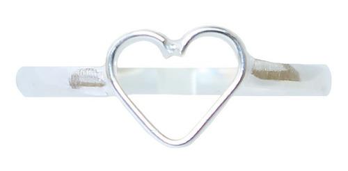 Anel De Prata 925 Falange Coração Pequeno