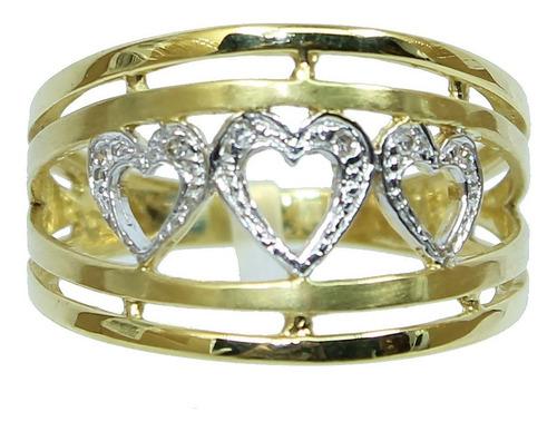 Anel Ouro 18k 750 Coração Diamantes 303