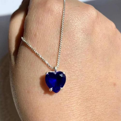 Colar De Prata 925 Maciça Com Coração Pedra Azul Escuro