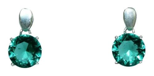 Par De Brincos Prata 925 Maciça Pedra Verde