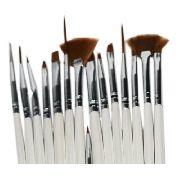 Kit Pincel Nail Art Design Unhas Artísticas 15 Pinceis + 5