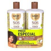 Kit Cachos Coco Profundo Shampoo e Condicionador Litrão Salon Line