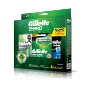 Kit Gillette Mach3 sensitive: aparelho,3 cartuchos e gel de barbear 72ml