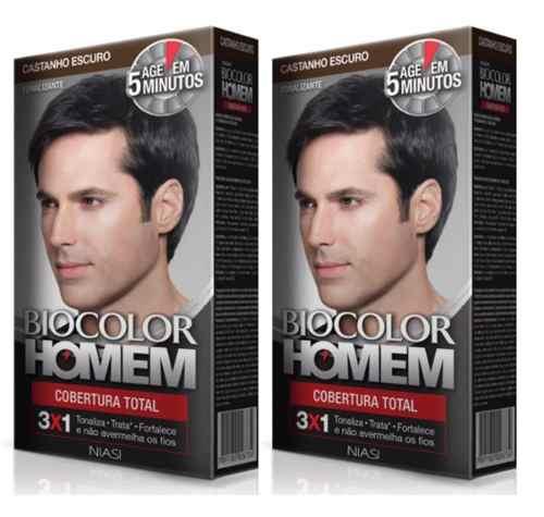 2 Tonalizante Biocolor Homem Castanho Escuro- Cabelo E Barba