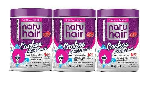 Creme Para Pentear Natu Hair Cachos T.bom 3x1k