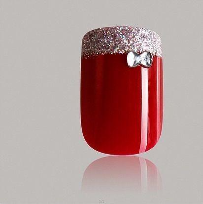 Unhas Autocolantes One Love Vermelho Glitter Com Laço