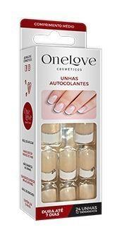 Unhas Autocolantes One Love Ol-0075 Francesinha Glitt- Médio