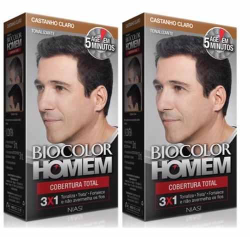 2 Tonalizante Biocolor Homem Castanho Claro- Cabelo E Barba