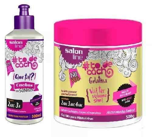 Creme Para Pentear Salon Line To De Cachos 500ml Sonhos +gelatina 550g