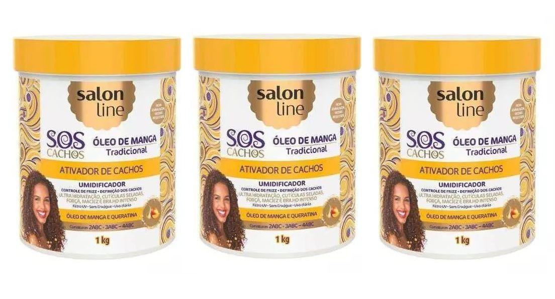 Ativador De Cachos Sos Umid Salon Line 1kg ( 3 Produtos )