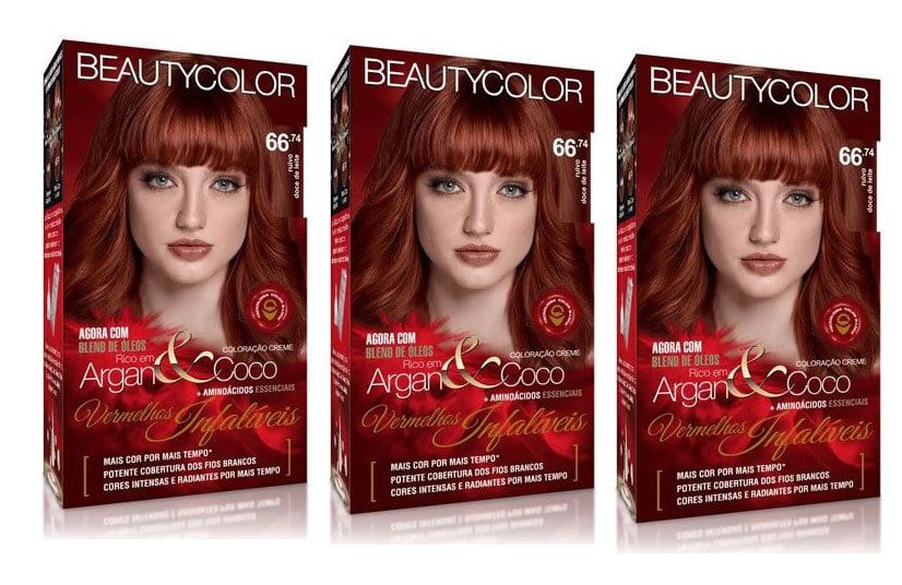 Coloracao Beautycolor 66.74 - Ruivo DOCE DE LEITE  (Kit C/3 )
