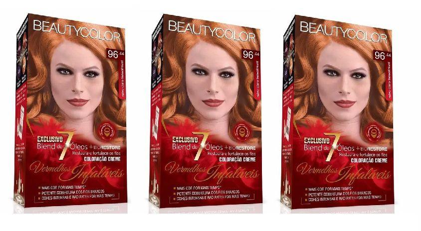 Coloração Beautycolor 96.44 - Ruivo Claro Indecifrável (kit C/03)