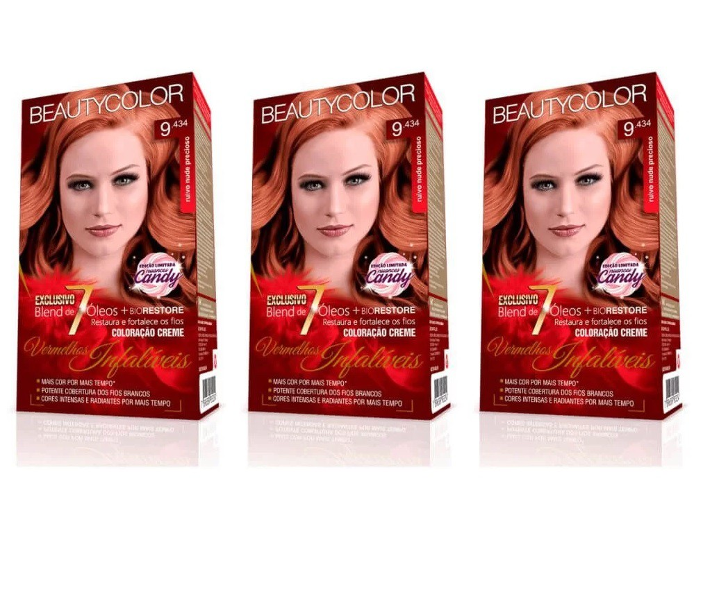 Coloração Beautycolor 9.434 - Ruivo Nude Precioso (kit C/03)