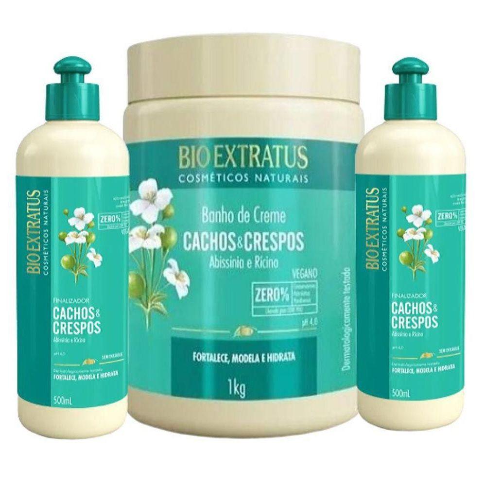 Combo Cachos Crespos Bio Extratus 1 Mascara 1kg 2 Final 500Ml