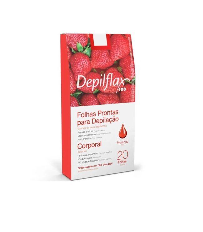 Folhas Depilatórias Depilflax  Prontas Corporal Morango C/20