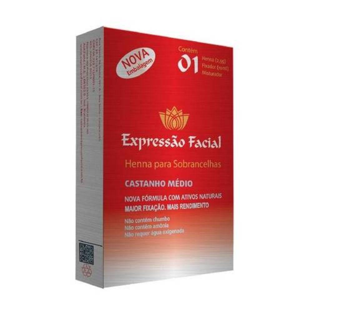 Henna Para Sobrancelhas Castanho Médio 2,5g - Expressão Facial