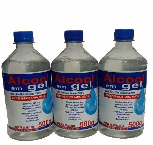 Kit 3 Alcool Gel 70° % Antisséptico Bactericida Mãos 500ml