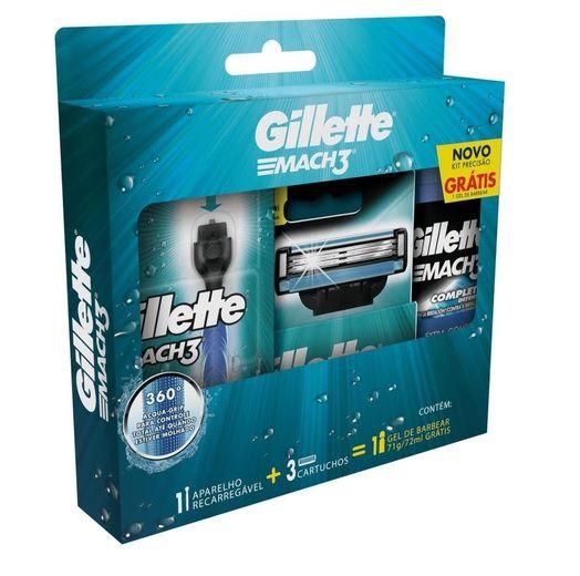 Kit Gillette Mach3 Acqua-Grip 1 aparelho,3 cartuchos e gel de barbear 72ml