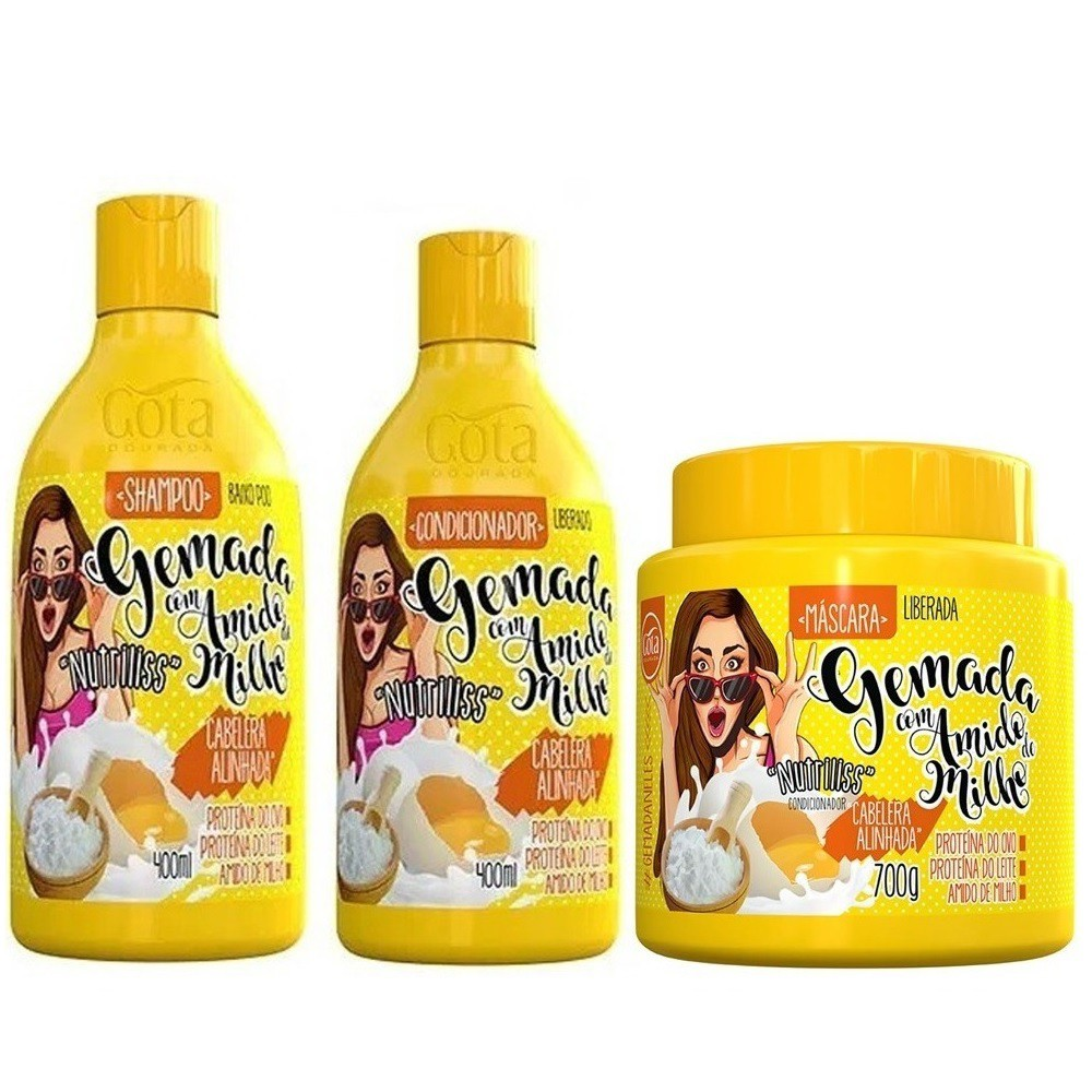 Kit Gota Dourada Gemada com Amido de Milho (3 Produtos)
