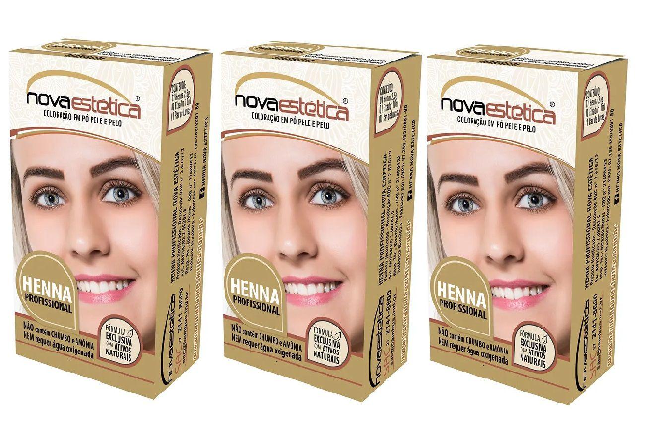 Kit Henna Para Sobrancelha Nova Estética 3 Cores