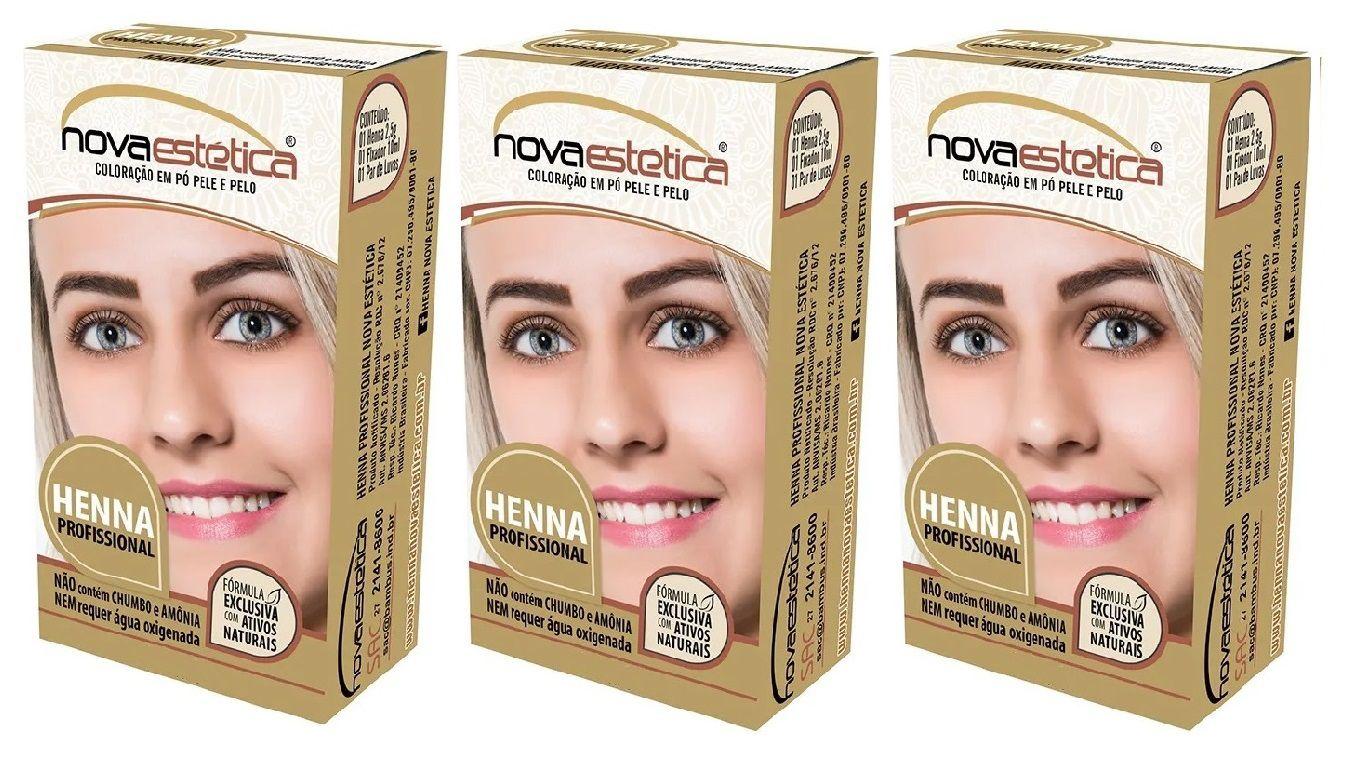 Kit Henna Para Sobrancelha Nova Estética 7 Cores A Escolha