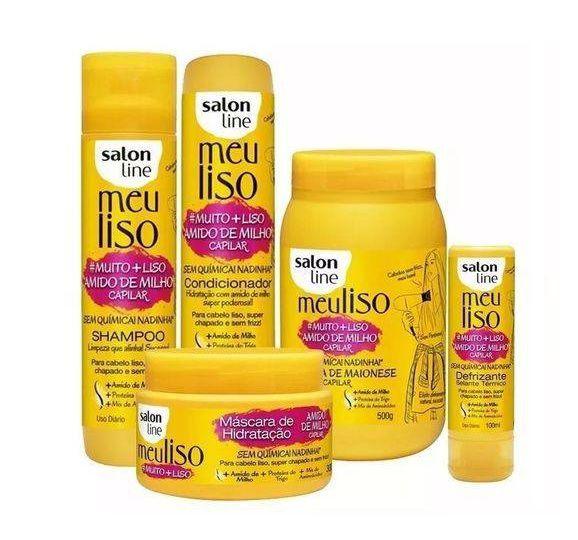 Kit Salon Line Meu Liso Amido De Milho Capilar 5 Produtos