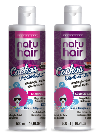 kit shampoo e condicionador natuhair cachos é tudo de bom 500ml