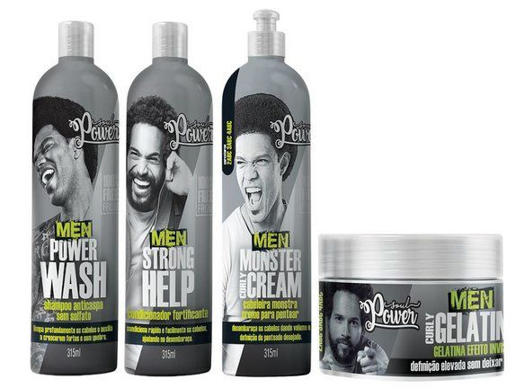 Kit Soul Power Men Monster Curly Cream 4 Produtos