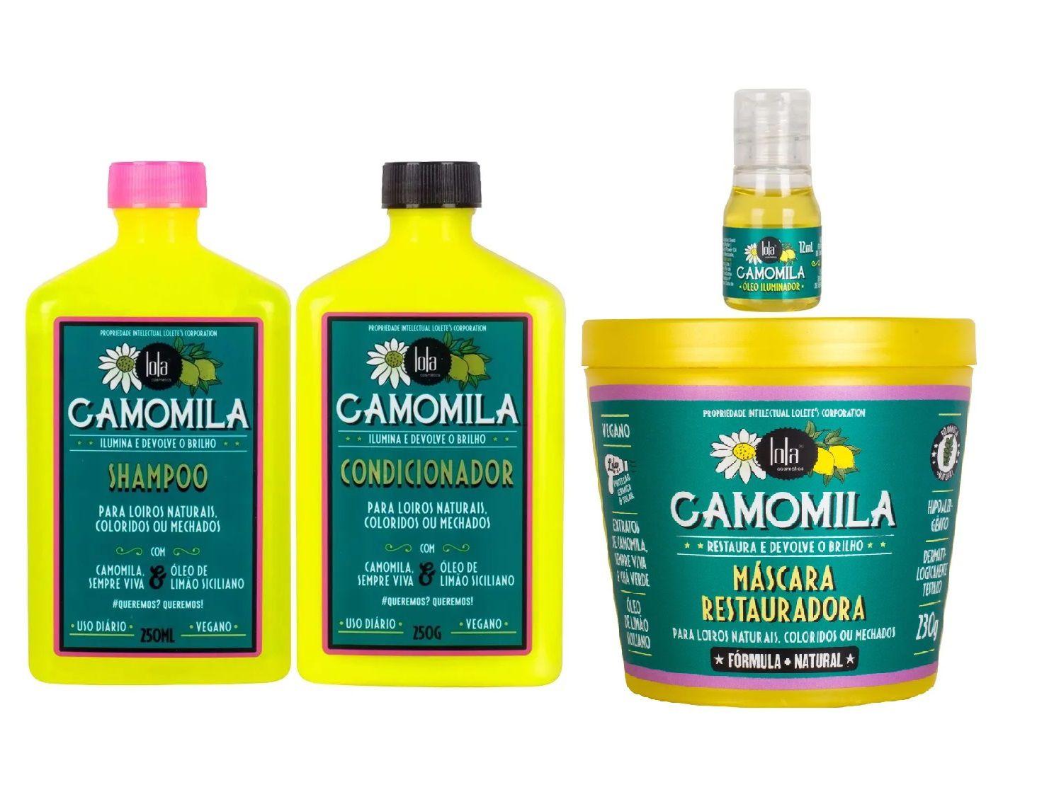 Lola Cosmetics Camomila  Shampoo + Condicionador + Óleo+Mascara