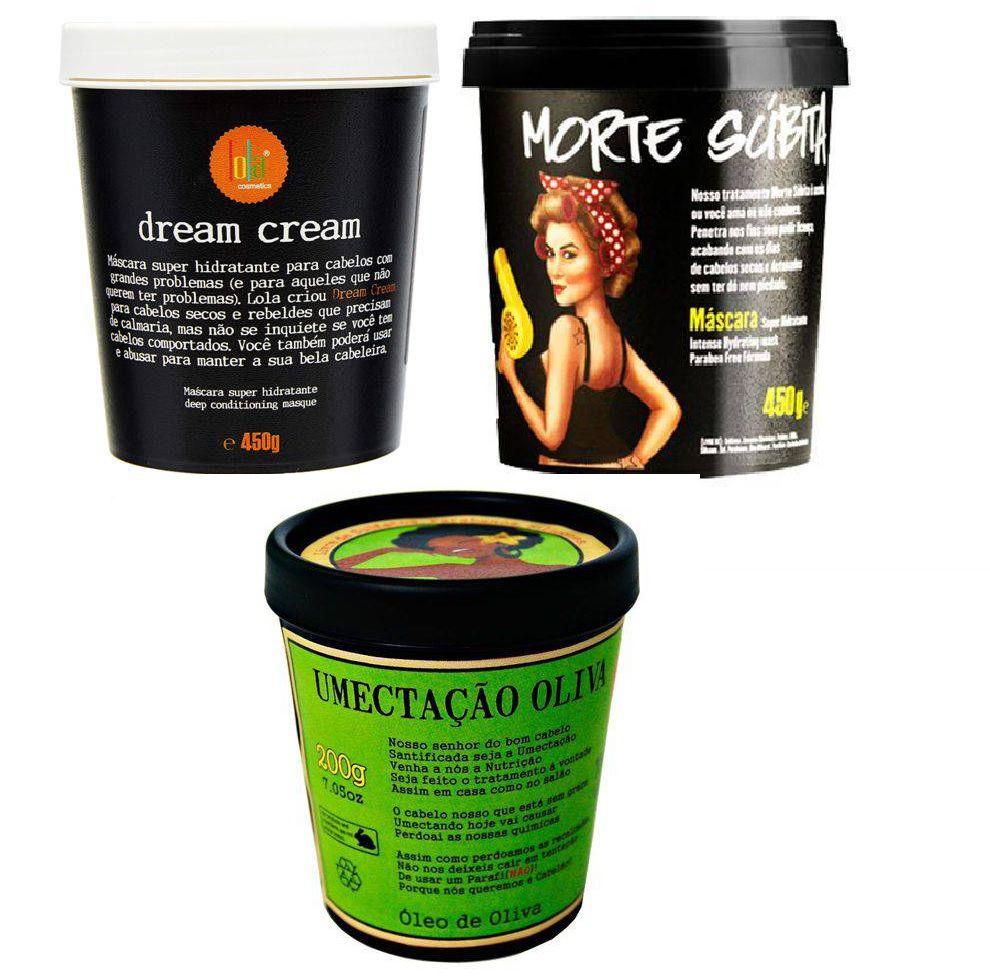 Lola Cosmetics - Kit (dream Cream 450g + Máscara Morte Súbita 450g + Umectação De Oliva 200g)
