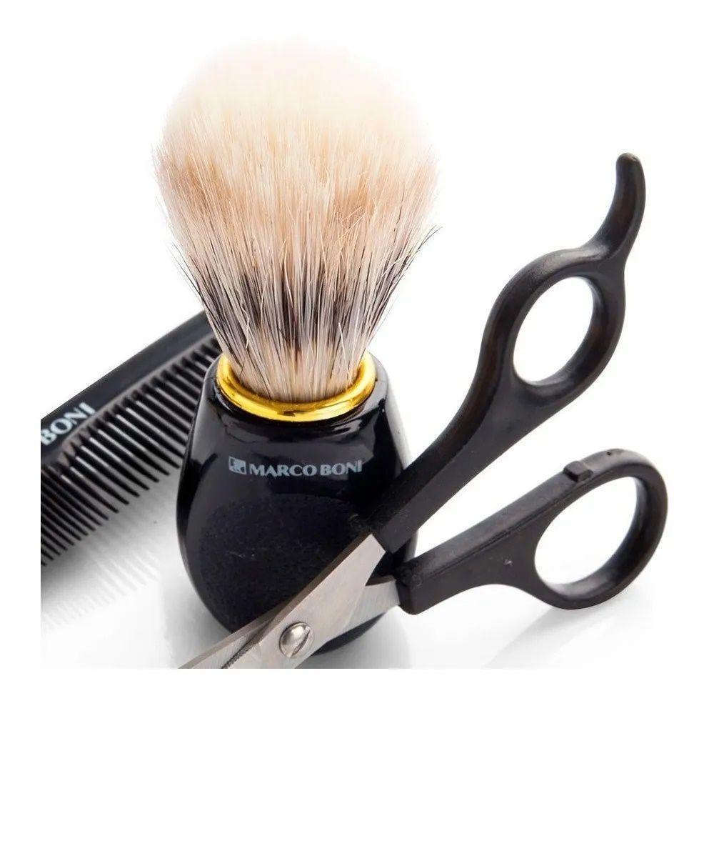 Marco Boni kit Barba Masculino Tesoura + Pincel + Pente 6191