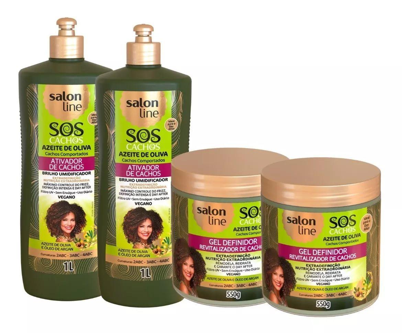 Salon Line Sos Cachos Azeite De Oliva  Ativ 1l +Gel  4 Produtos