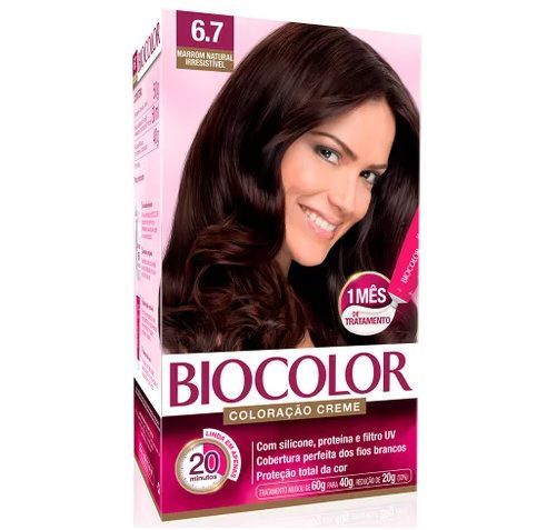 Tintura Creme Biocolor Marrom Natural Irresistível 6.7