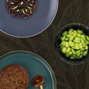 Arroz Negro, Hambúrguer de Cogumelos e Edamame