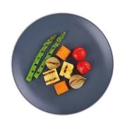 Aspargos com Abóbora, Pupunha e Tomate Confit