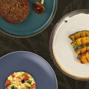 Couscous Marroquino, Hambúrguer de Cogumelos e Cabotiá Grelhado com Alecrim