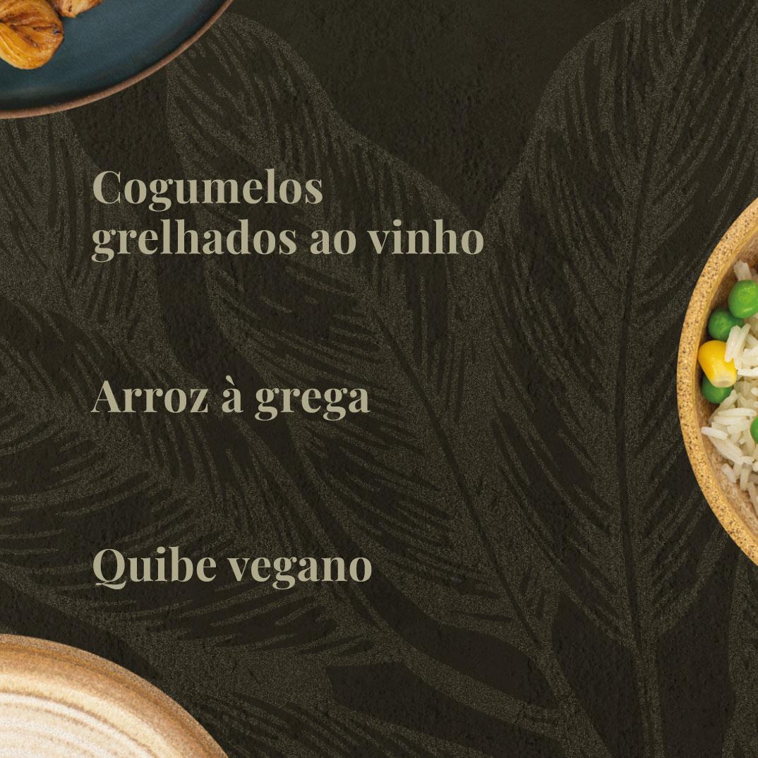 Arroz à Grega, Cogumelos Grelhados ao Vinho e Quibe Vegano  - kük