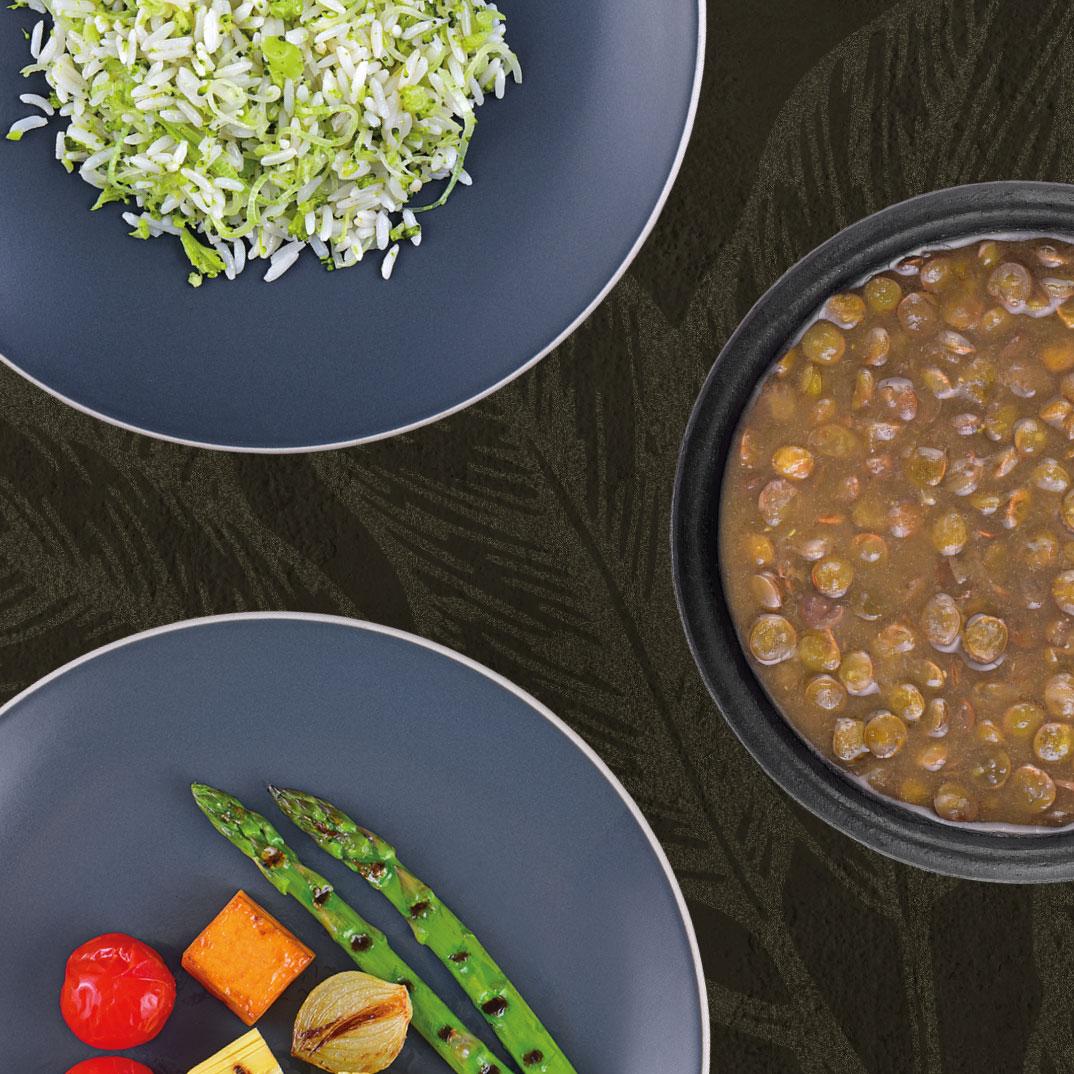 Arroz com Brócolis, Lentilha e Aspargos com Abóbora, Pupunha e Tomate Confit  - kük