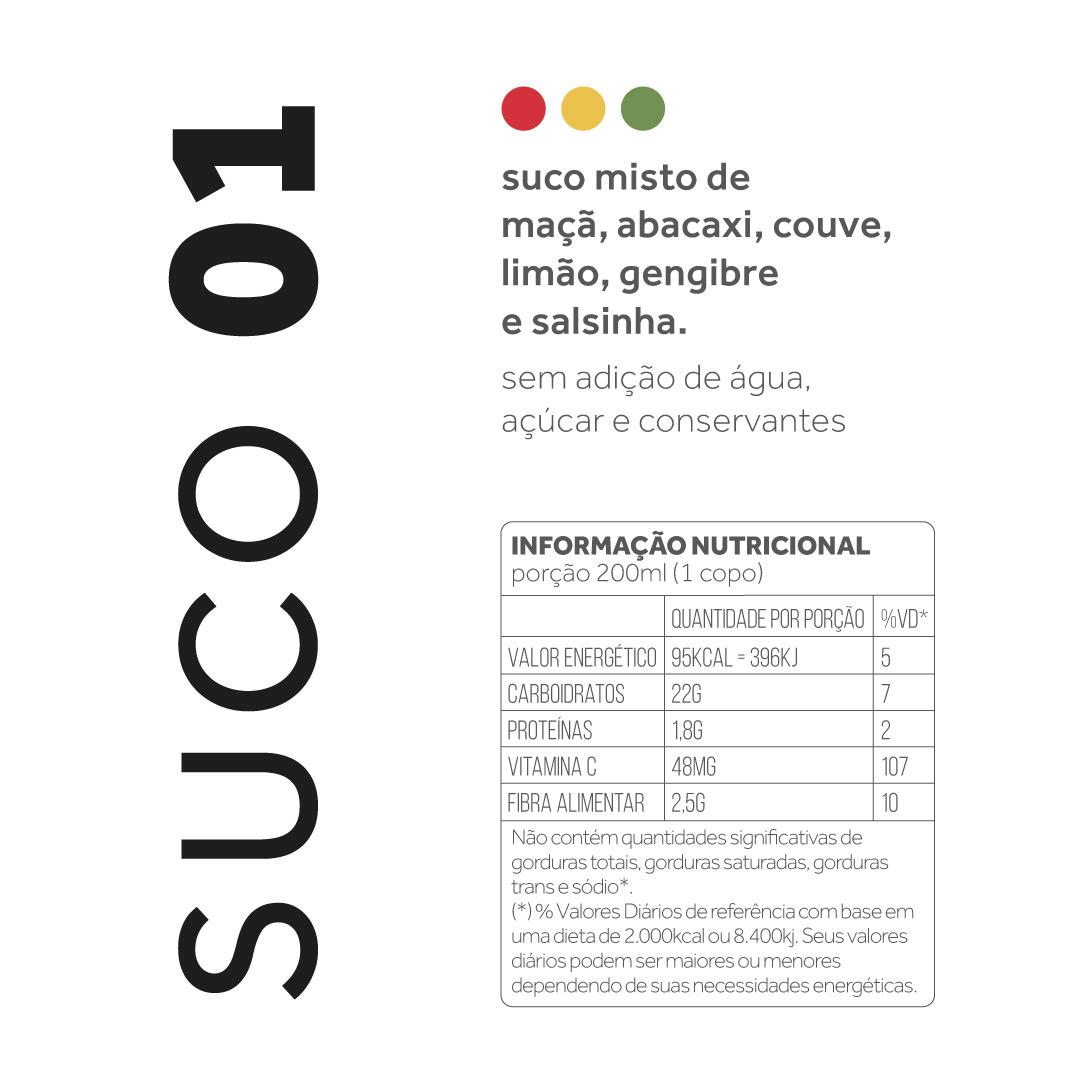 Suco 01 - Maça, abacaxi, couve, limão, gengibre e salsinha  - kük