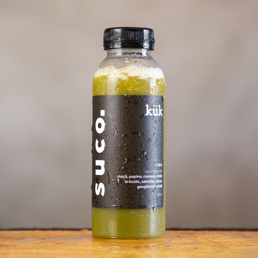 Suco 01 - Maçã, Pepino, Cenoura, Couve, Brócolis, Salsinha, Hortelã, Gengibre e Limão - 285ml