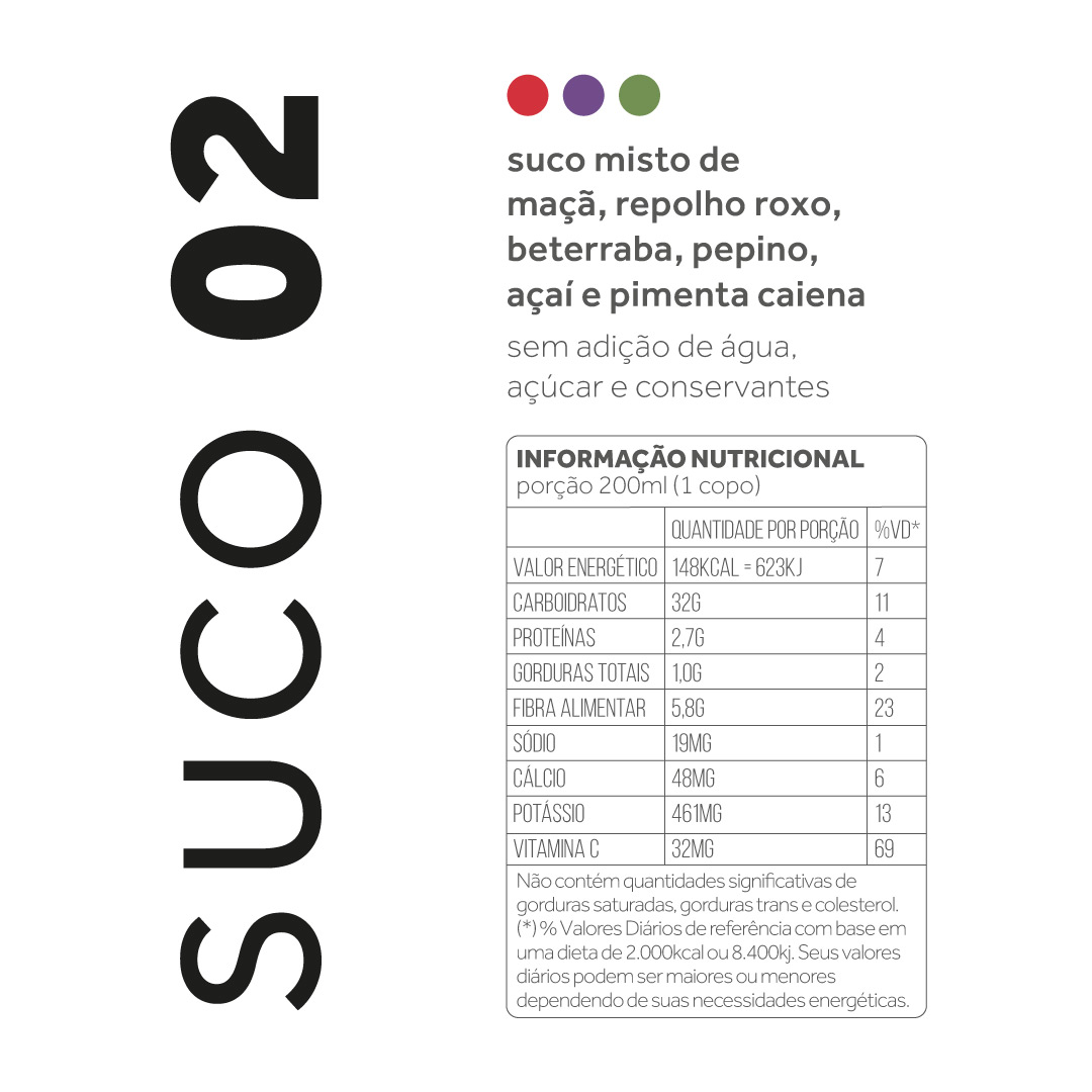 Suco 02 - Maça, repolho roxo, beterraba, pepino, açaí e pimenta  - kük