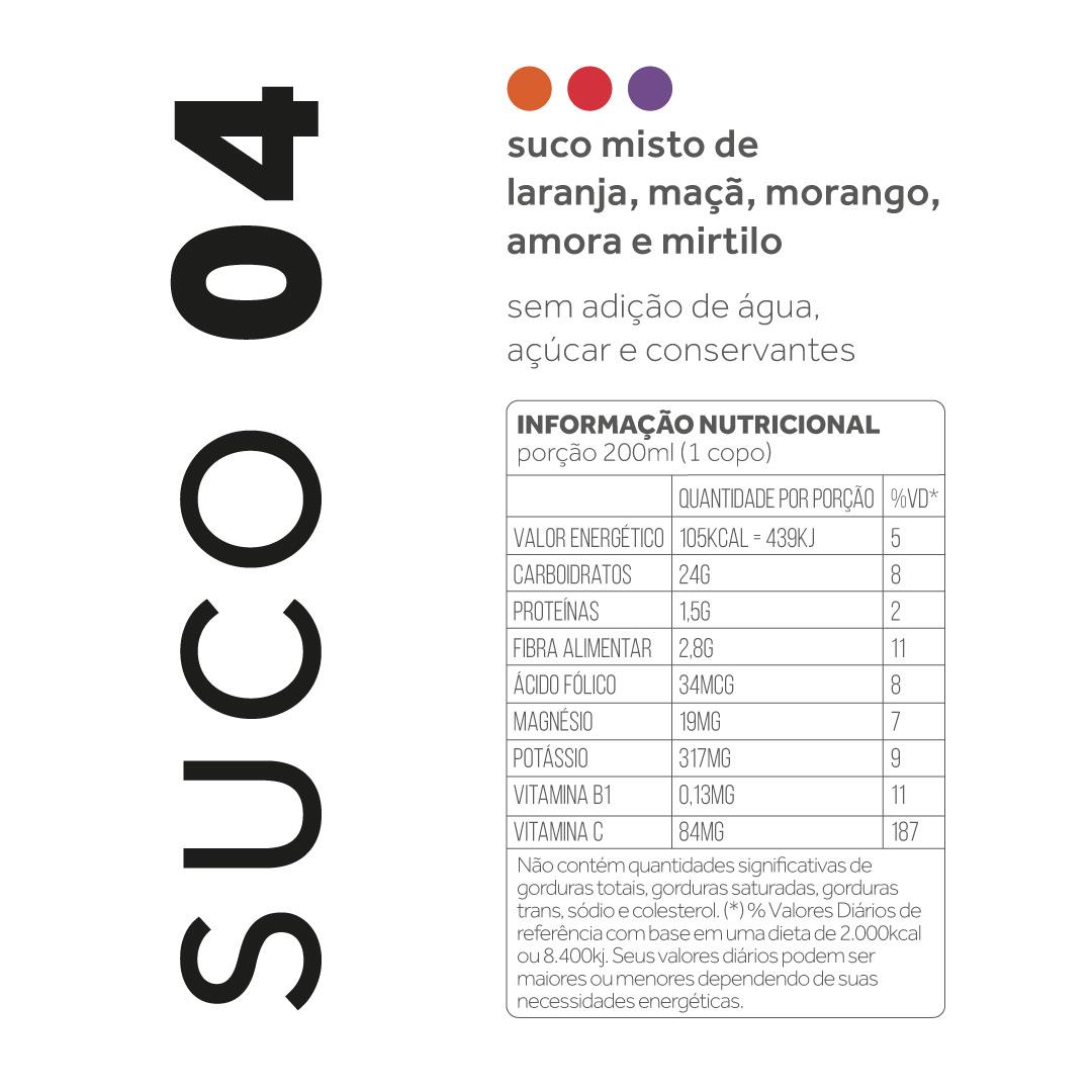 Suco 04 - Laranja, maçã, morango, amora e mirtilo  - kük